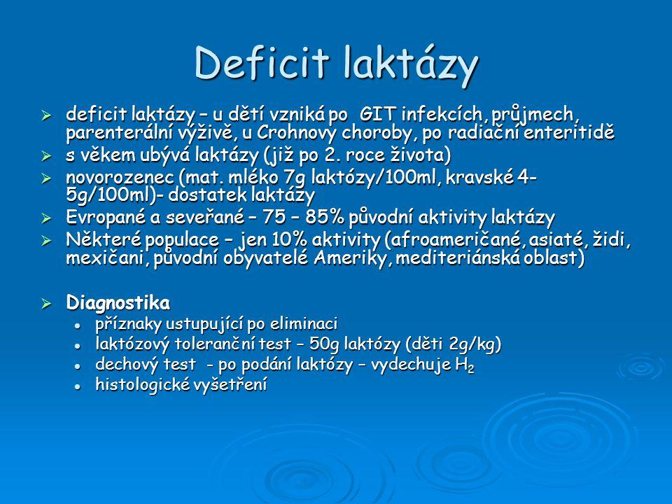 Deficit laktázy  Léčba eliminace živočišného mléka ze stravy eliminace živočišného mléka ze stravy stupeň eliminace je dán mírou tolerance stupeň eliminace je dán mírou tolerance většina dospělích 6-12 g laktózy denně snese bez klin.