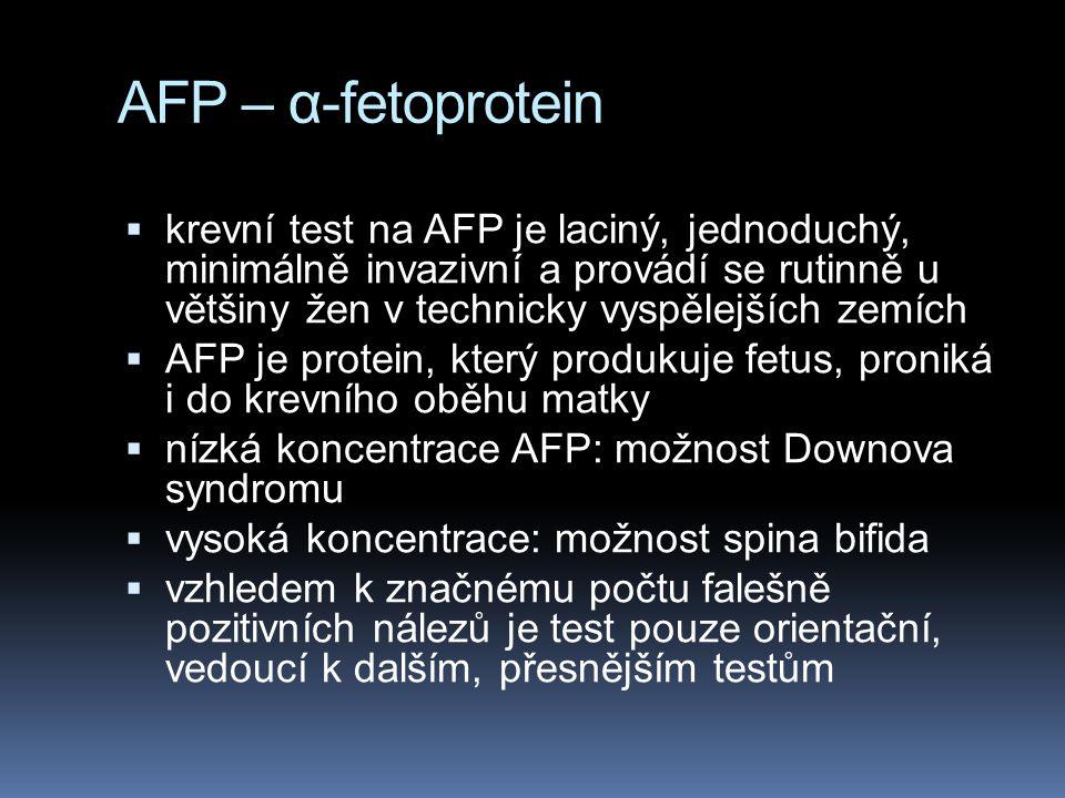 AFP – α-fetoprotein Z grafu je zřejmé, že test na AFT je pouze orientační.