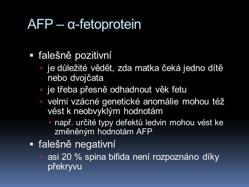 Triple Screen  hCG  estriol (E3)  AFP  tripl test zachytí Downův syndrom v 60 % - 70 % případů a má velmi malé procento falešně pozitivních výsledků