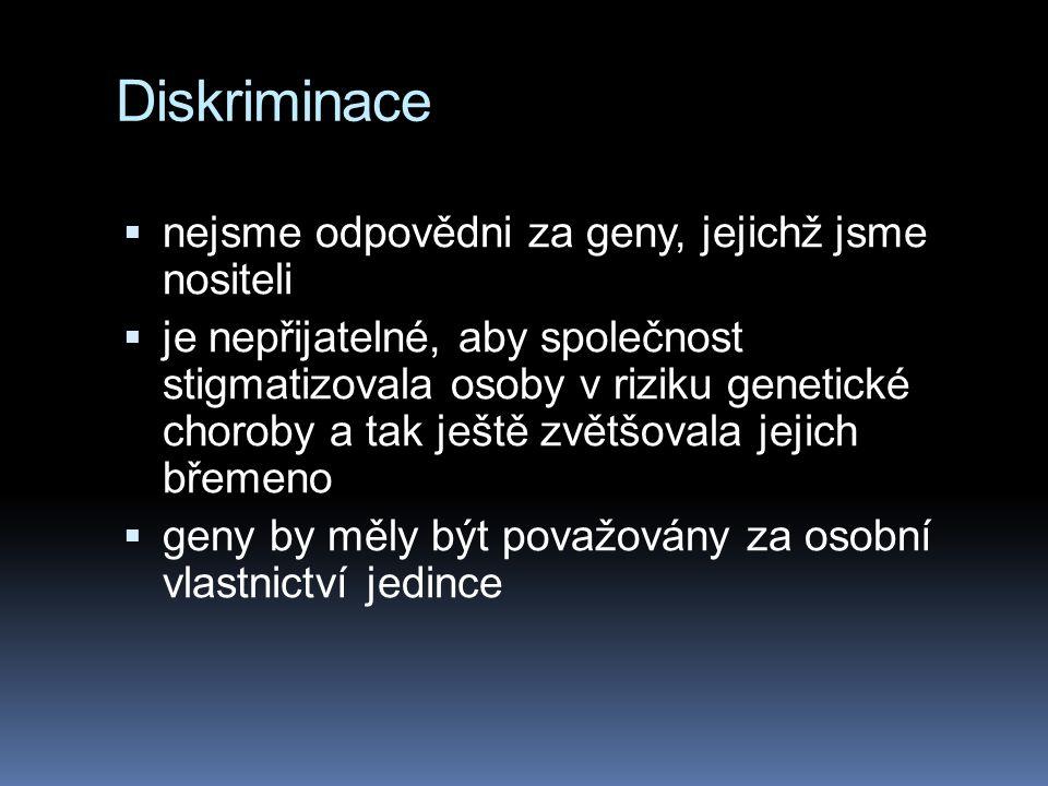 """Discriminace  Kare Berg: požaduje společnost, ve které by bylo zakázáno třetím stranám:  požadovat genetické testování  klást otázky, zda byla daná osoba geneticky testována  vědět, zda je či není genetická choroba v rodině dané osoby The """"third parties : the employment or insurance market"""