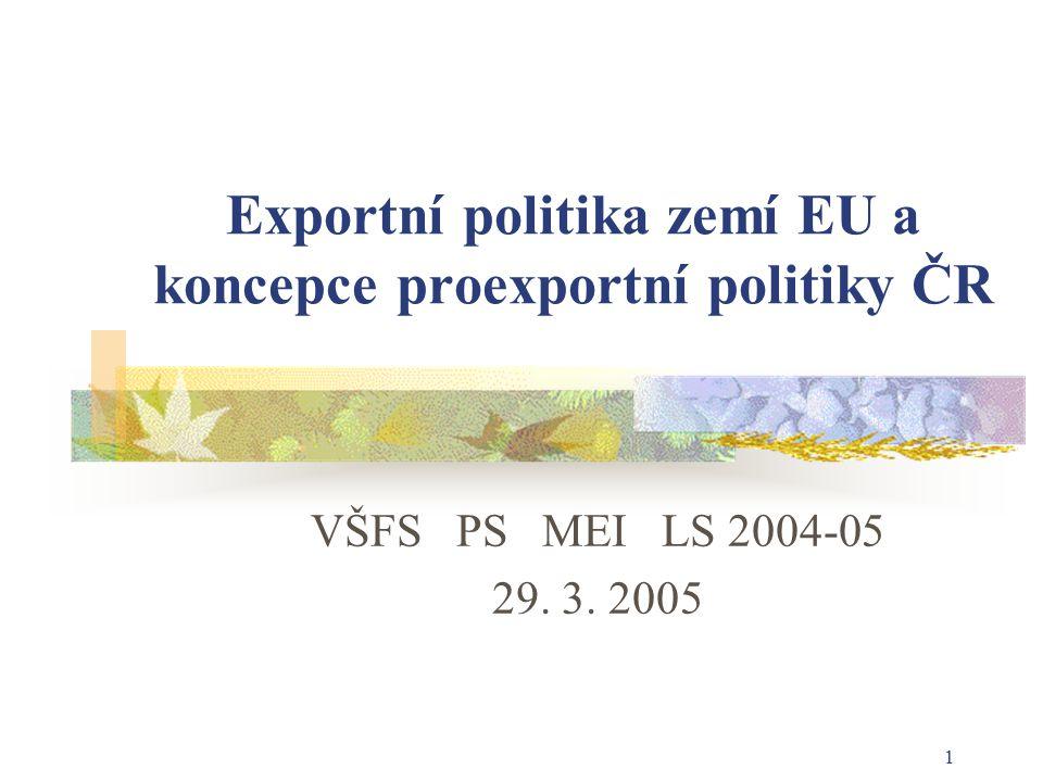1 Exportní politika zemí EU a koncepce proexportní politiky ČR VŠFS PS MEI LS 2004-05 29. 3. 2005