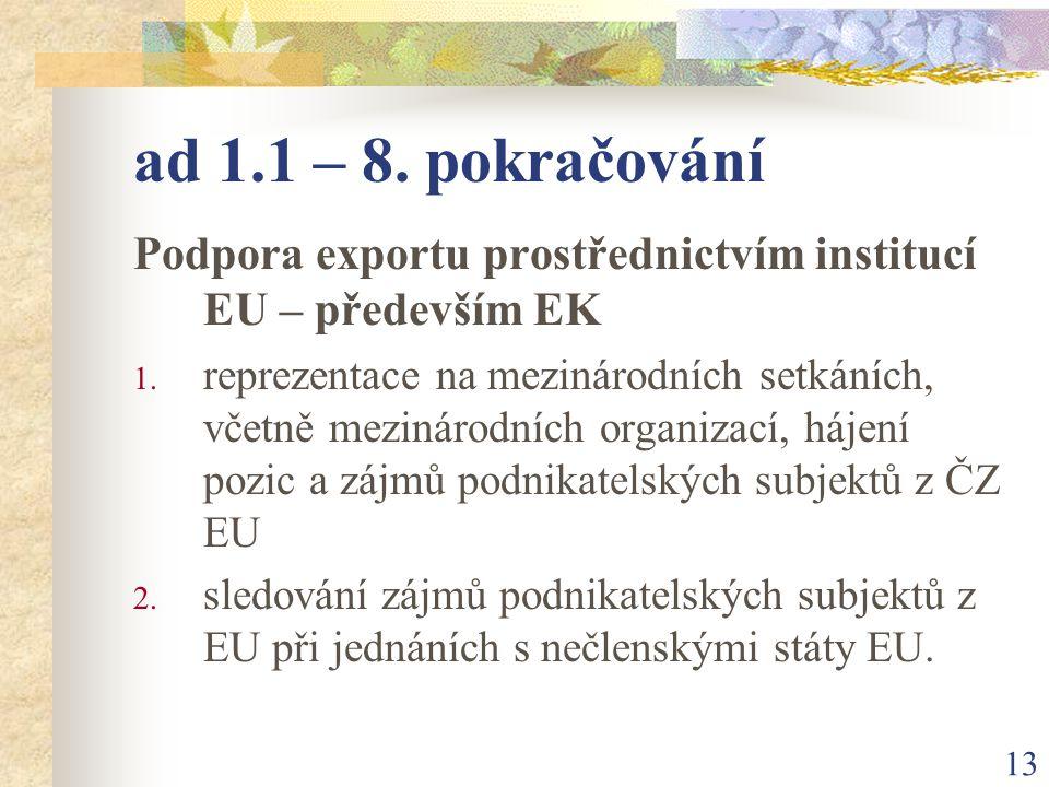 13 ad 1.1 – 8. pokračování Podpora exportu prostřednictvím institucí EU – především EK 1.