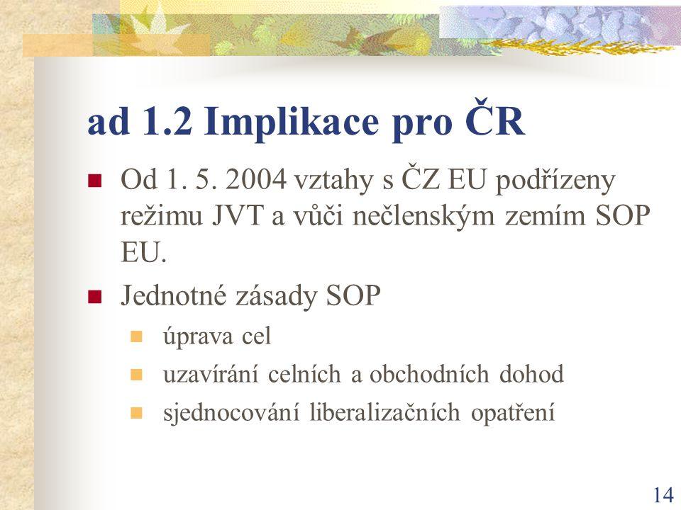 14 ad 1.2 Implikace pro ČR Od 1. 5.