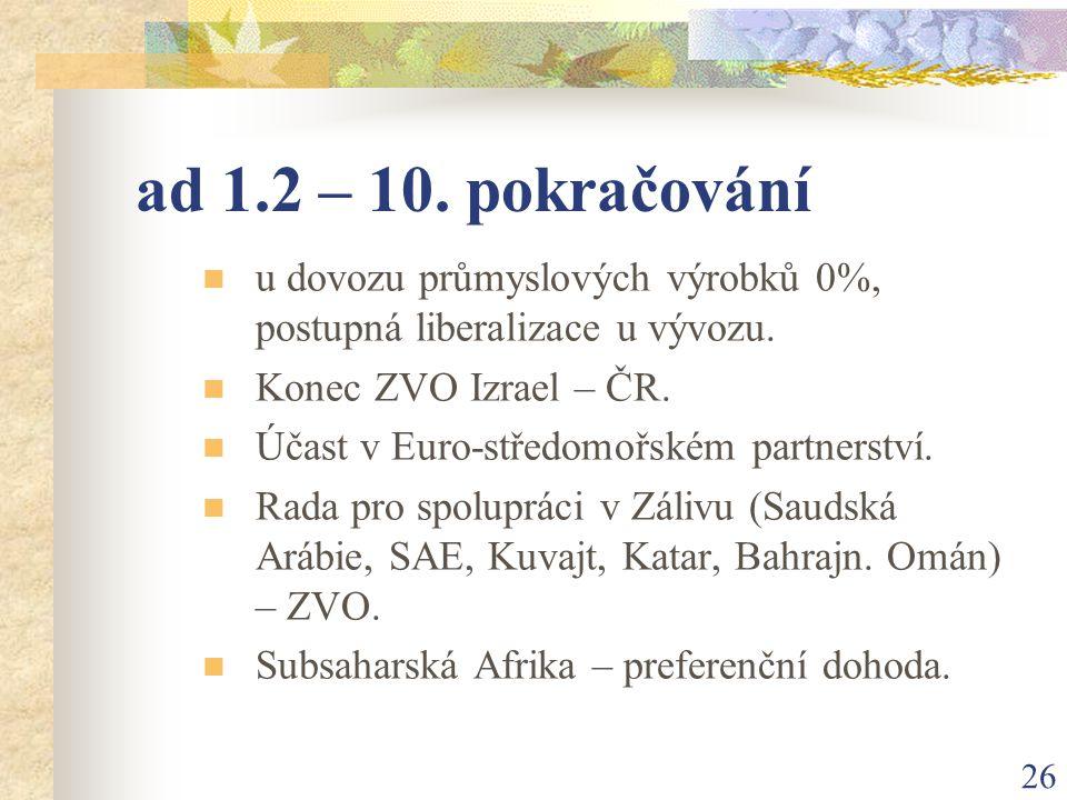 26 ad 1.2 – 10. pokračování u dovozu průmyslových výrobků 0%, postupná liberalizace u vývozu.