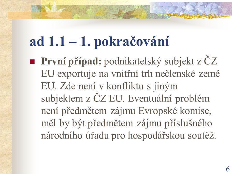 27 ad 1.2 – 11.pokračování JAR – Dohoda o obchodu a spolupráci mezi EU a JAR (ZVO) z roku 1999.