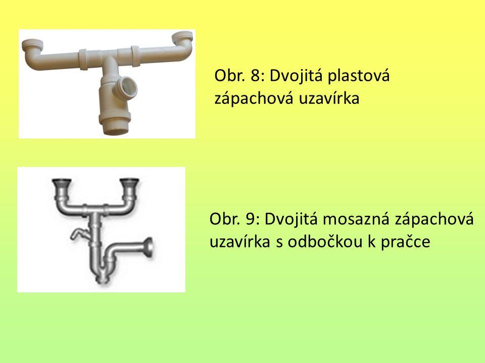 Obr. 8: Dvojitá plastová zápachová uzavírka Obr. 9: Dvojitá mosazná zápachová uzavírka s odbočkou k pračce