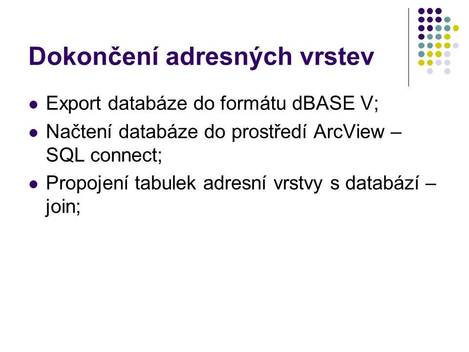 Dokončení adresných vrstev Export databáze do formátu dBASE V; Načtení databáze do prostředí ArcView – SQL connect; Propojení tabulek adresní vrstvy s databází – join;
