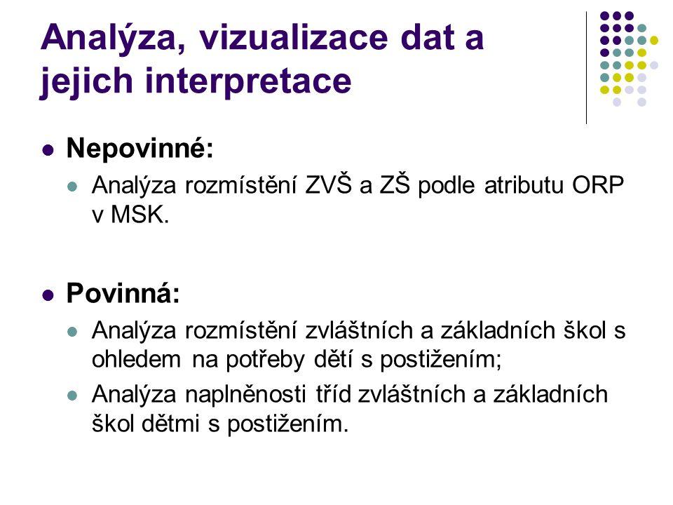 Analýza, vizualizace dat a jejich interpretace Nepovinné: Analýza rozmístění ZVŠ a ZŠ podle atributu ORP v MSK.