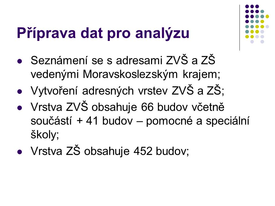 Příprava dat pro analýzu Seznámení se s adresami ZVŠ a ZŠ vedenými Moravskoslezským krajem; Vytvoření adresných vrstev ZVŠ a ZŠ; Vrstva ZVŠ obsahuje 66 budov včetně součástí + 41 budov – pomocné a speciální školy; Vrstva ZŠ obsahuje 452 budov;