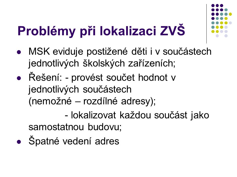 Problémy při lokalizaci ZŠ Špatné vedení adres (místo, ulice xx) Zkratky (E., El., Elišky Krásnohorské) NAZ_ZUJtextNázev základní územní jednotky.