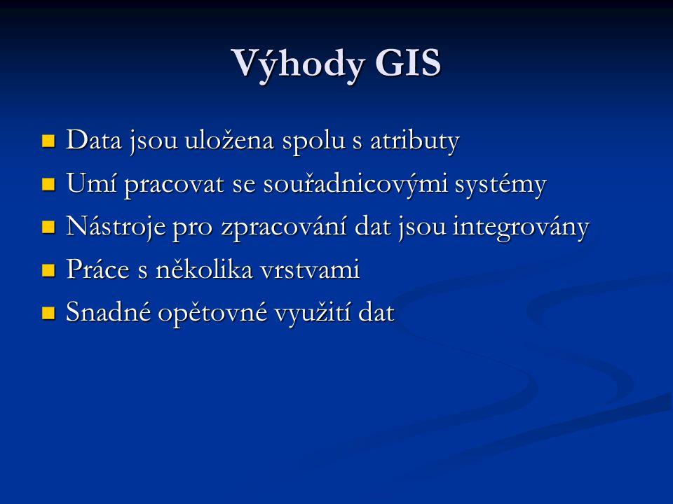 Výhody GIS Data jsou uložena spolu s atributy Data jsou uložena spolu s atributy Umí pracovat se souřadnicovými systémy Umí pracovat se souřadnicovými