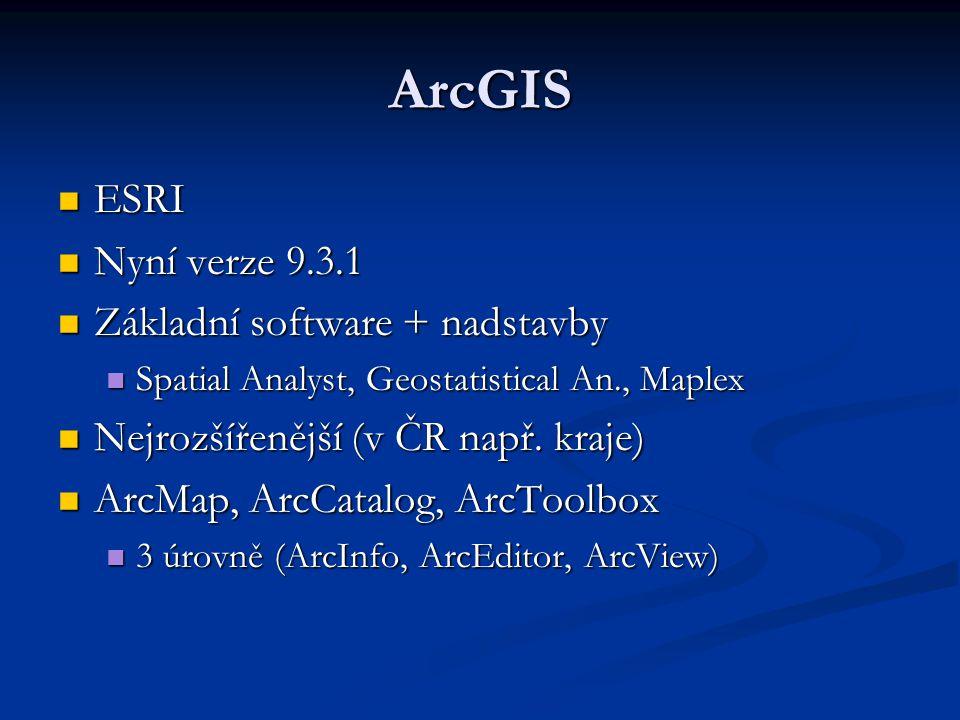 Data v ArcGIS Geodatabáze (dřive MS Access, nyní MS SQL Server) Geodatabáze (dřive MS Access, nyní MS SQL Server) Externí databáze (propojené přes ArcSDE) Externí databáze (propojené přes ArcSDE) Soubory (Coverage, Shapefile) Soubory (Coverage, Shapefile) Umí číst i další fomáty (DGN,..) Umí číst i další fomáty (DGN,..) Atributy uloženy spolu s kresbou Atributy uloženy spolu s kresbou Stále hodně používaný Shapefile .
