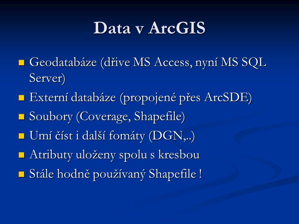Data v ArcGIS Geodatabáze (dřive MS Access, nyní MS SQL Server) Geodatabáze (dřive MS Access, nyní MS SQL Server) Externí databáze (propojené přes Arc