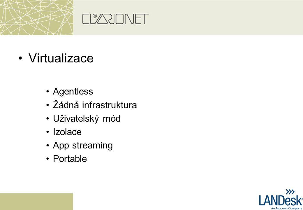 Virtualizace Agentless Žádná infrastruktura Uživatelský mód Izolace App streaming Portable