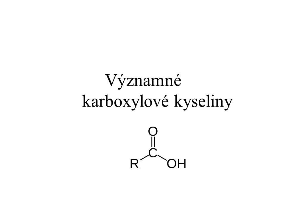 Kyselina mravenčí Systematický název: kyselina metanová Vlastnosti: bezbarvá, leptavá, ostře páchnoucí kapalina Výskyt: v přírodě (u mravenců, vos, v kopřivě) Využití: barvení látek, dezinfekční prostředek, konzervování látek, v kožedělném průmyslu, v kožním lékařství Výroba: průmyslově – oxidací metanolu, reakcí CO a NaOH