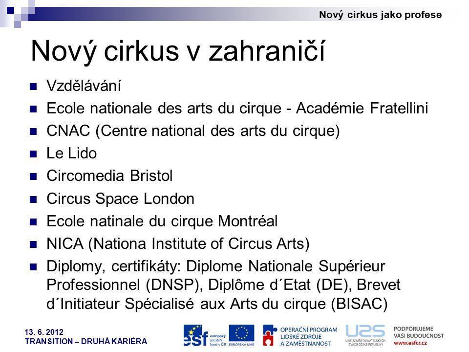 Nový cirkus jako profese 13. 6. 2012 TRANSITION – DRUHÁ KARIÉRA Nový cirkus v zahraničí Vzdělávání Ecole nationale des arts du cirque - Académie Frate