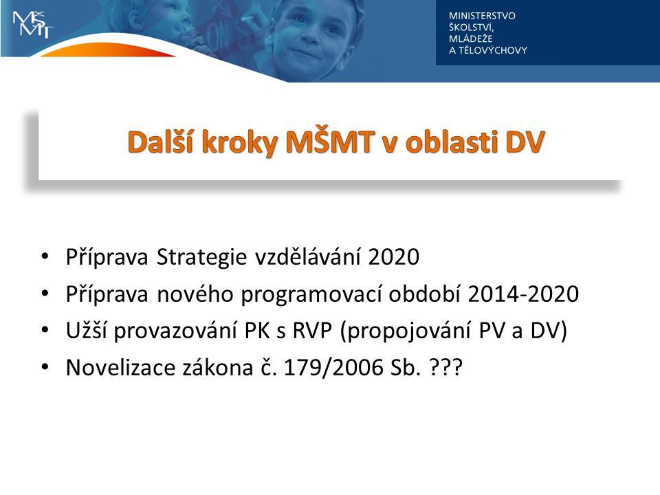 Příprava Strategie vzdělávání 2020 Příprava nového programovací období 2014-2020 Užší provazování PK s RVP (propojování PV a DV) Novelizace zákona č.
