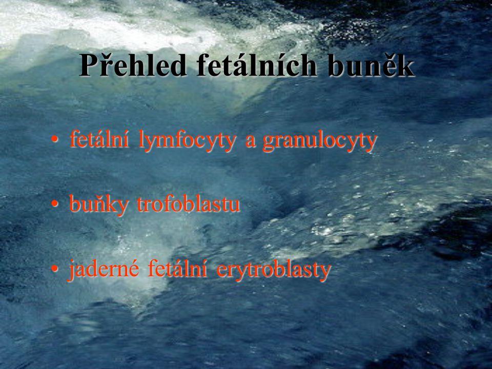 Problémy: 1. specifická izolace fetálních buněk z MS1.