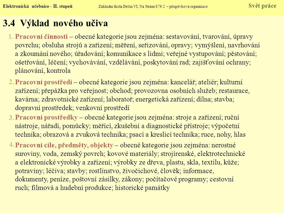 3.4 Výklad nového učiva Elektronická učebnice - II.