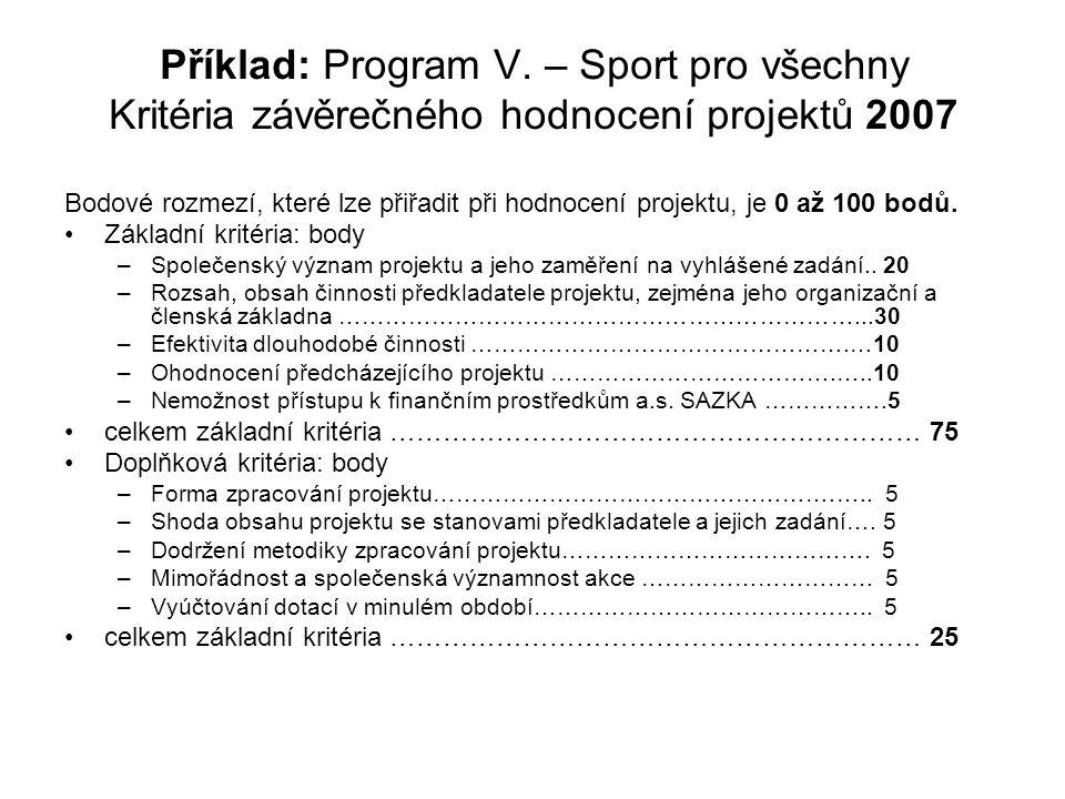 Příklad: Program V. – Sport pro všechny Kritéria závěrečného hodnocení projektů 2007 Bodové rozmezí, které lze přiřadit při hodnocení projektu, je 0 a