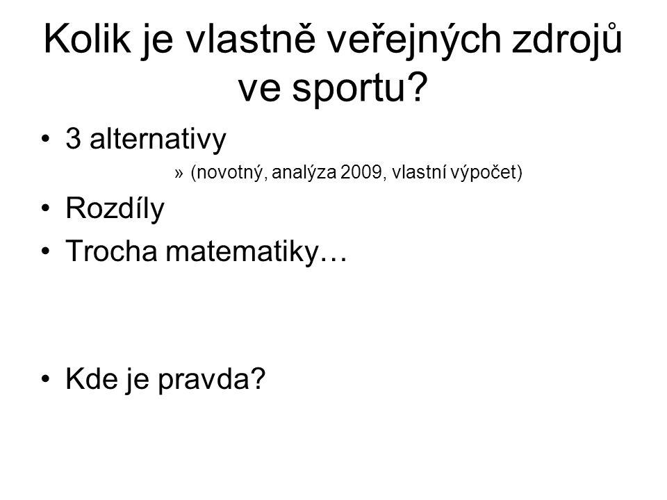 Kolik je vlastně veřejných zdrojů ve sportu? 3 alternativy »(novotný, analýza 2009, vlastní výpočet) Rozdíly Trocha matematiky… Kde je pravda?