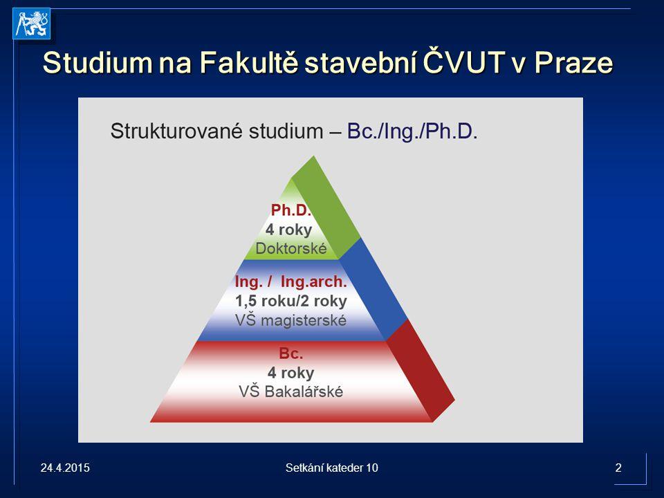 Studium na Fakultě stavební ČVUT v Praze 24.4.20152Setkání kateder 10