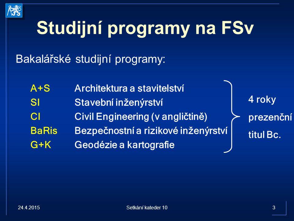 Studijní programy na FSv Bakalářské studijní programy: A+SArchitektura a stavitelství SI Stavební inženýrství CICivil Engineering (v angličtině) BaRisBezpečnostní a rizikové inženýrství G+KGeodézie a kartografie 4 roky prezenční titul Bc.