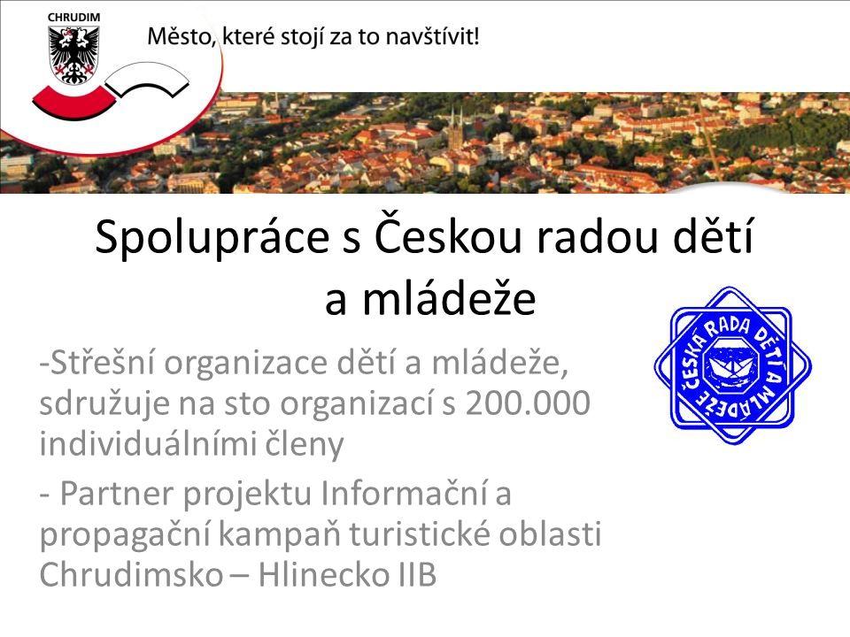 Spolupráce s Českou radou dětí a mládeže -Střešní organizace dětí a mládeže, sdružuje na sto organizací s 200.000 individuálními členy - Partner projektu Informační a propagační kampaň turistické oblasti Chrudimsko – Hlinecko IIB