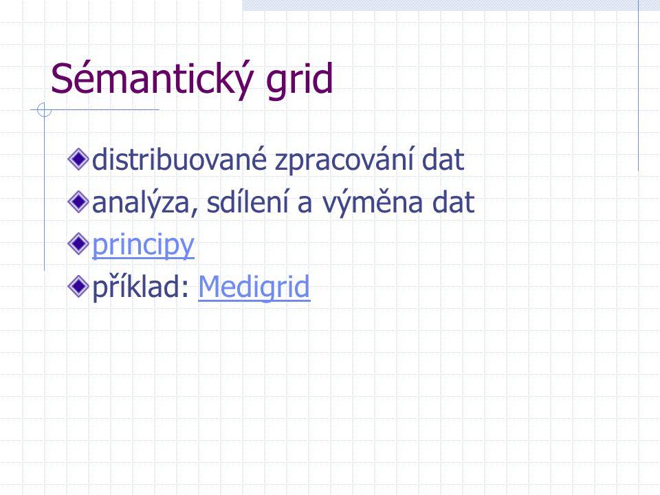Sémantický grid distribuované zpracování dat analýza, sdílení a výměna dat principy příklad: MedigridMedigrid