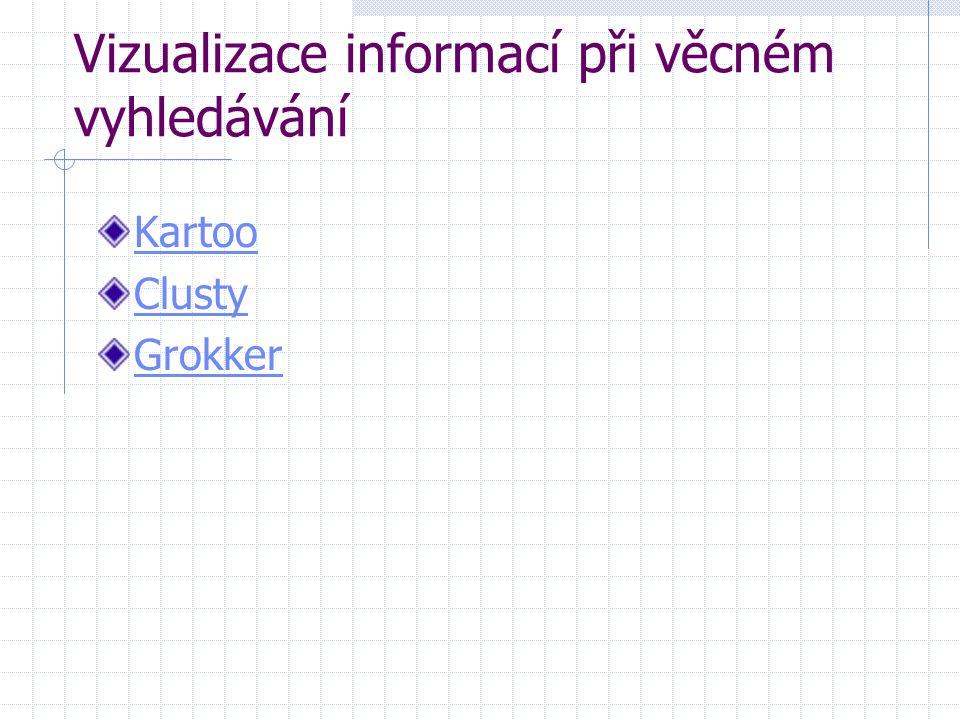 Vizualizace informací při věcném vyhledávání Kartoo Clusty Grokker