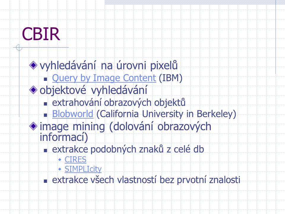 CBIR vyhledávání na úrovni pixelů Query by Image Content (IBM) Query by Image Content objektové vyhledávání extrahování obrazových objektů Blobworld (California University in Berkeley) Blobworld image mining (dolování obrazových informací) extrakce podobných znaků z celé db  CIRES CIRES  SIMPLIcity SIMPLIcity extrakce všech vlastností bez prvotní znalosti