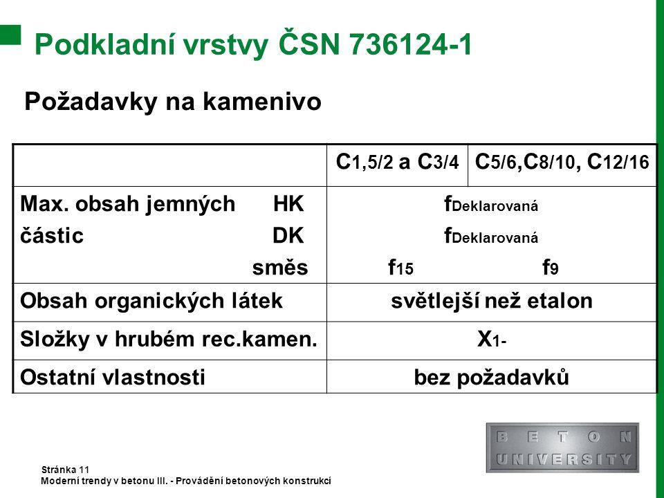 Podkladní vrstvy ČSN 736124-1 Stránka 11 Moderní trendy v betonu III. - Provádění betonových konstrukcí Požadavky na kamenivo C 1,5/2 a C 3/4 C 5/6,C