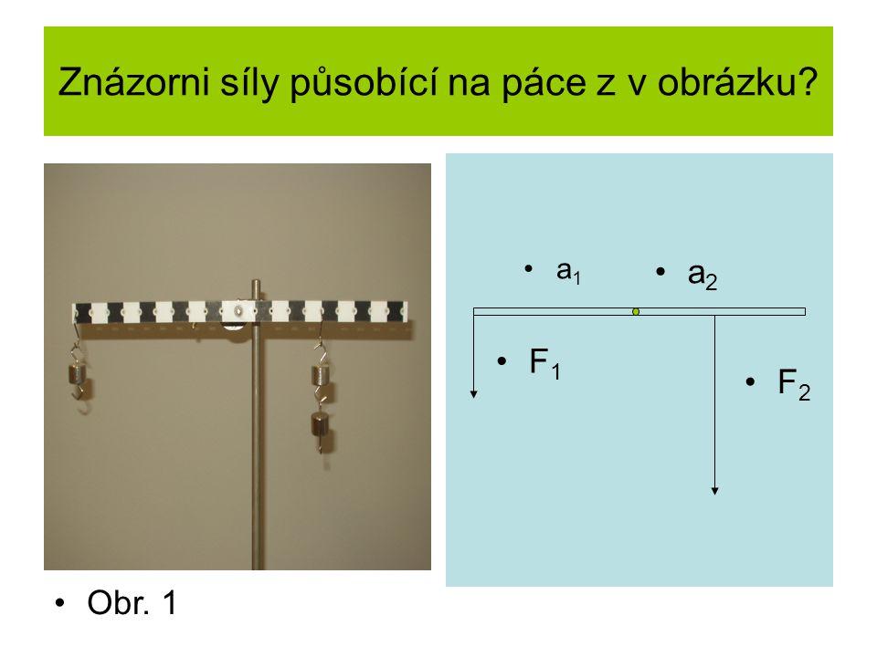 Znázorni síly působící na páce z v obrázku? a 1 a 2 F 1 F 2 Obr. 1