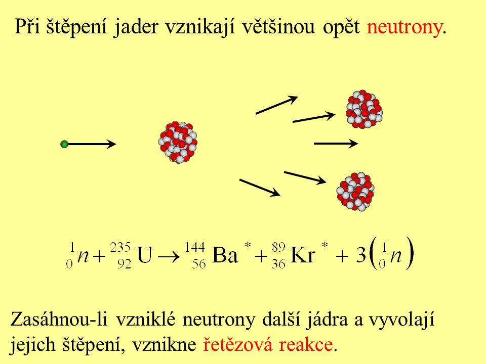 Při štěpení jader vznikají většinou opět neutrony. Zasáhnou-li vzniklé neutrony další jádra a vyvolají jejich štěpení, vznikne řetězová reakce.