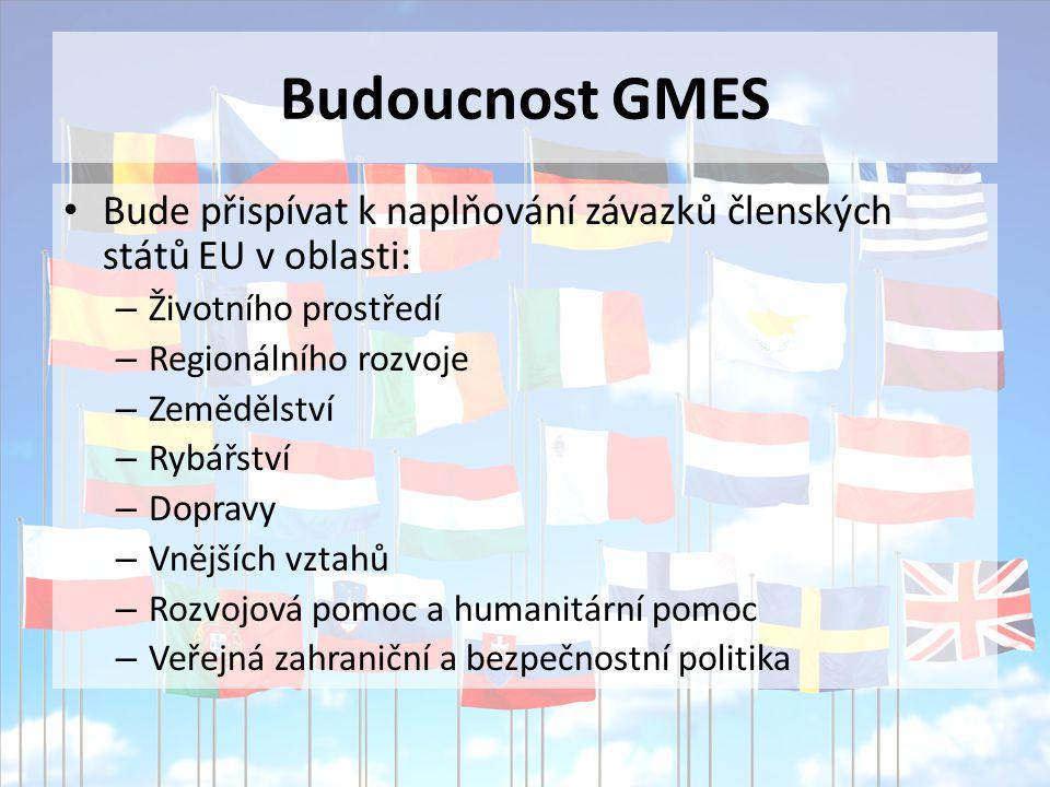 Budoucnost GMES Bude přispívat k naplňování závazků členských států EU v oblasti: – Životního prostředí – Regionálního rozvoje – Zemědělství – Rybářství – Dopravy – Vnějších vztahů – Rozvojová pomoc a humanitární pomoc – Veřejná zahraniční a bezpečnostní politika