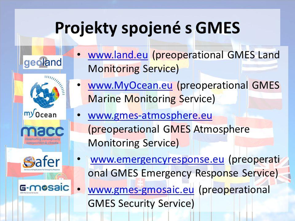 Projekty spojené s GMES www.land.eu (preoperational GMES Land Monitoring Service) www.land.eu www.MyOcean.eu (preoperational GMES Marine Monitoring Service) www.MyOcean.eu www.gmes-atmosphere.eu (preoperational GMES Atmosphere Monitoring Service) www.gmes-atmosphere.eu www.emergencyresponse.eu (preoperati onal GMES Emergency Response Service)www.emergencyresponse.eu www.gmes-gmosaic.eu (preoperational GMES Security Service) www.gmes-gmosaic.eu