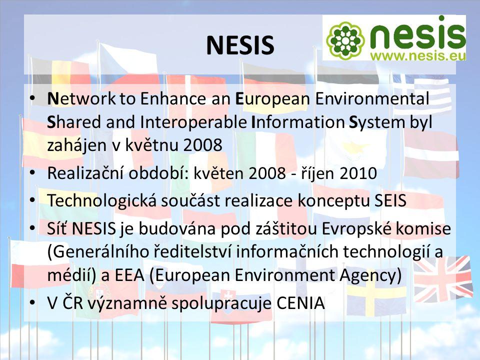 NESIS Network to Enhance an European Environmental Shared and Interoperable Information System byl zahájen v květnu 2008 Realizační období: květen 2008 - říjen 2010 Technologická součást realizace konceptu SEIS Síť NESIS je budována pod záštitou Evropské komise (Generálního ředitelství informačních technologií a médií) a EEA (European Environment Agency) V ČR významně spolupracuje CENIA