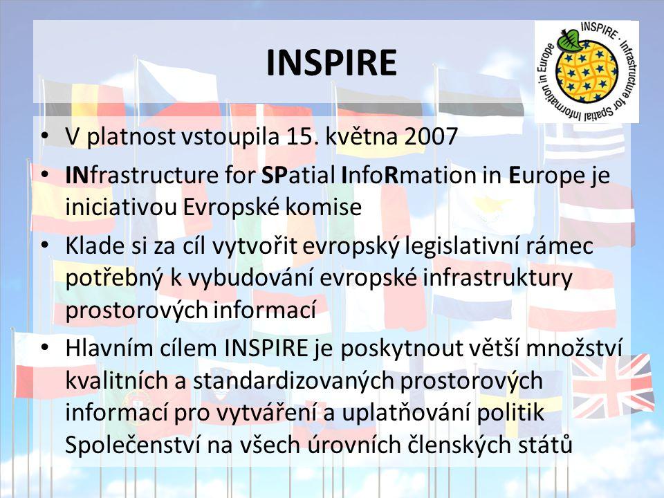 INSPIRE V platnost vstoupila 15. května 2007 INfrastructure for SPatial InfoRmation in Europe je iniciativou Evropské komise Klade si za cíl vytvořit