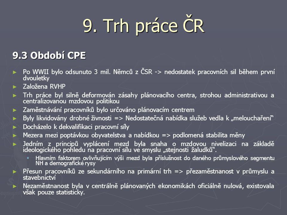 9.Trh práce ČR 9.3 Období CPE ► ► Po WWII bylo odsunuto 3 mil.