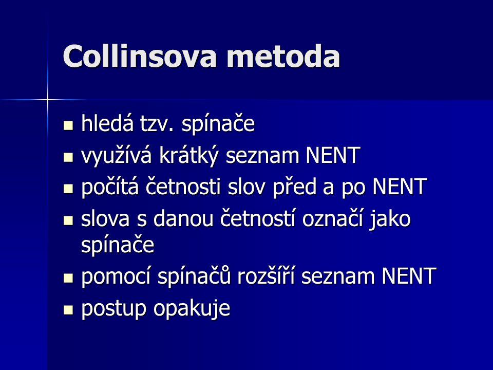 Collinsova metoda hledá tzv. spínače hledá tzv.