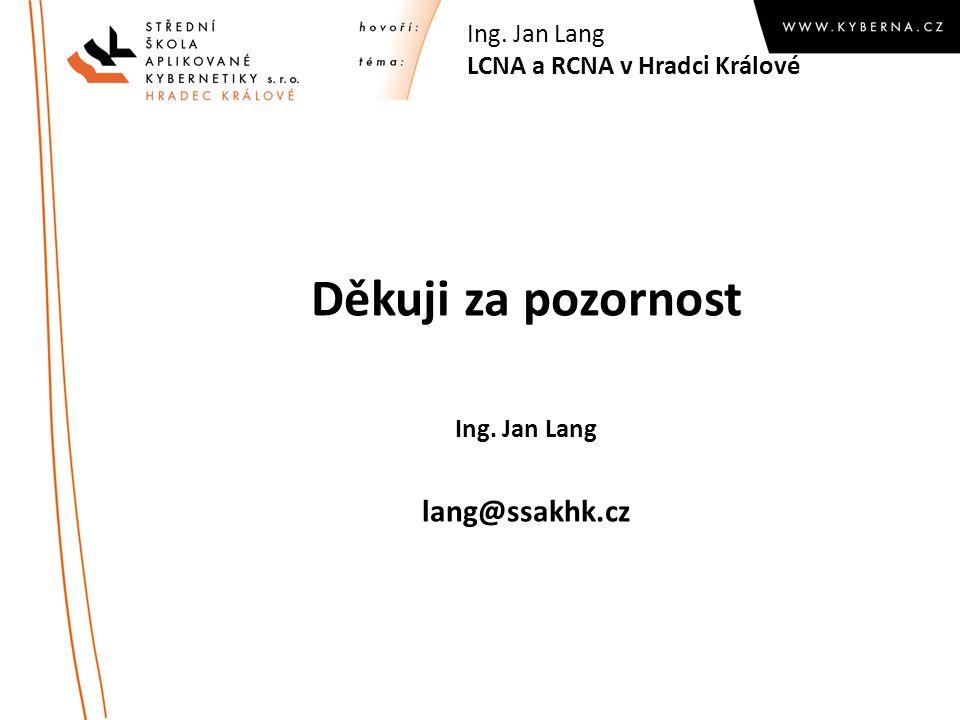 Děkuji za pozornost Ing. Jan Lang lang@ssakhk.cz Ing. Jan Lang LCNA a RCNA v Hradci Králové