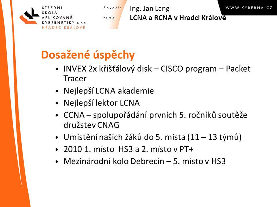 Dosažené úspěchy INVEX 2x křišťálový disk – CISCO program – Packet Tracer Nejlepší LCNA akademie Nejlepší lektor LCNA CCNA – spolupořádání prvních 5.