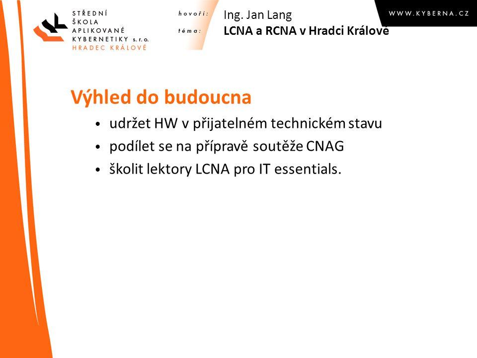 Výhled do budoucna udržet HW v přijatelném technickém stavu podílet se na přípravě soutěže CNAG školit lektory LCNA pro IT essentials. Ing. Jan Lang L