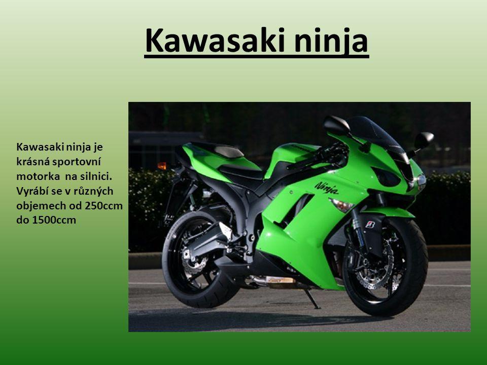 Kawasaki ninja Kawasaki ninja je krásná sportovní motorka na silnici.