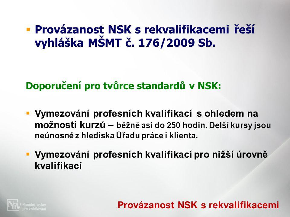 Provázanost NSK s rekvalifikacemi  Provázanost NSK s rekvalifikacemi řeší vyhláška MŠMT č.