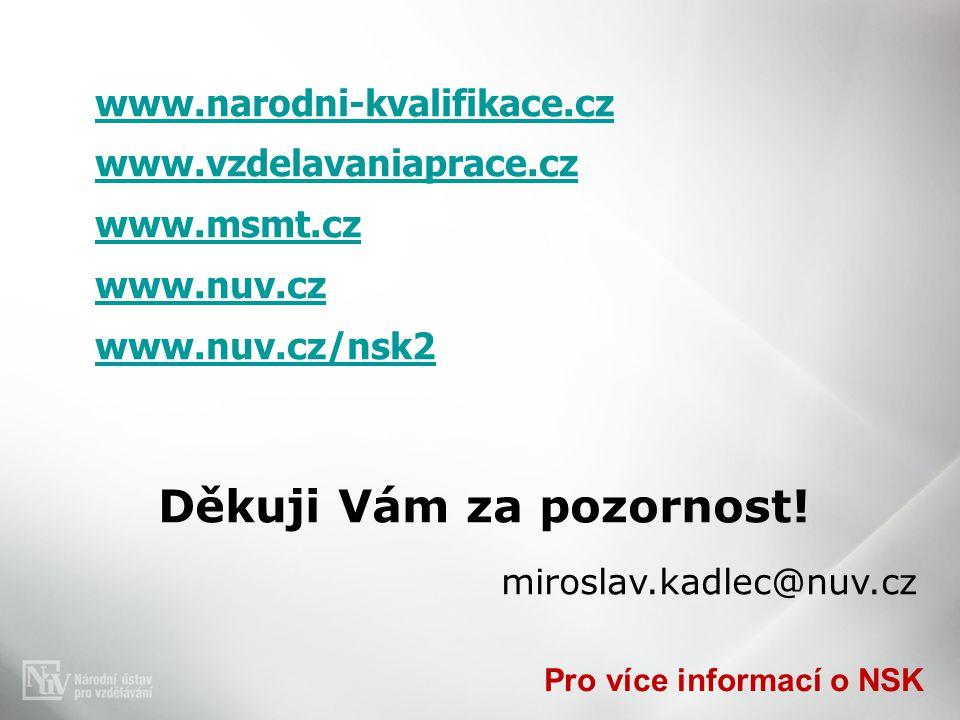 Pro více informací o NSK www.narodni-kvalifikace.cz www.vzdelavaniaprace.cz www.msmt.cz www.nuv.cz www.nuv.cz/nsk2 Děkuji Vám za pozornost.