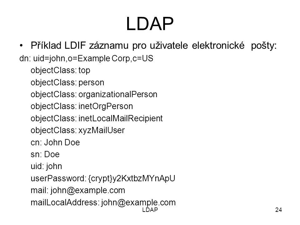 LDAP Příklad LDIF záznamu pro uživatele elektronické pošty: dn: uid=john,o=Example Corp,c=US objectClass: top objectClass: person objectClass: organizationalPerson objectClass: inetOrgPerson objectClass: inetLocalMailRecipient objectClass: xyzMailUser cn: John Doe sn: Doe uid: john userPassword: {crypt}y2KxtbzMYnApU mail: john@example.com mailLocalAddress: john@example.com 24LDAP