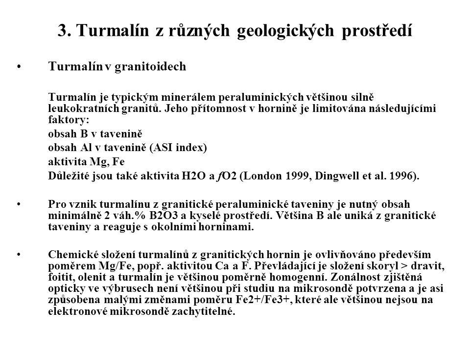3. Turmalín z různých geologických prostředí Turmalín v granitoidech Turmalín je typickým minerálem peraluminických většinou silně leukokratních grani