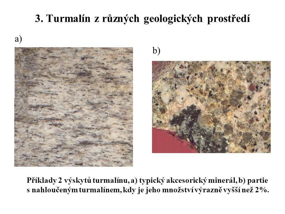 3. Turmalín z různých geologických prostředí Příklady 2 výskytů turmalínu, a) typický akcesorický minerál, b) partie s nahloučeným turmalínem, kdy je