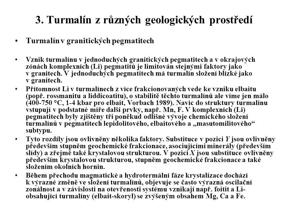 3. Turmalín z různých geologických prostředí Turmalín v granitických pegmatitech Vznik turmalínu v jednoduchých granitických pegmatitech a v okrajovýc